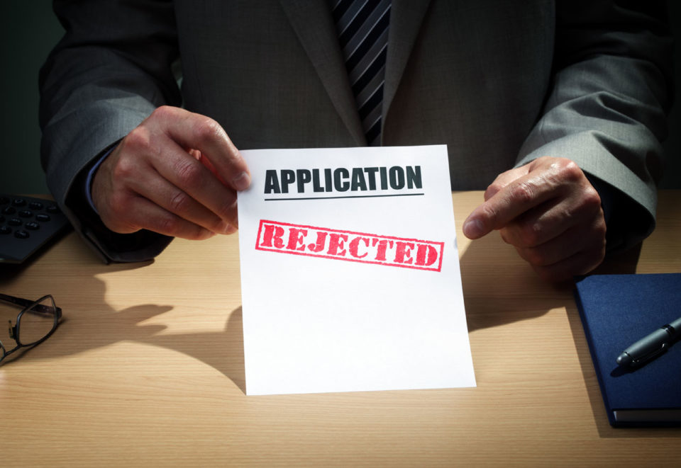 Application with Rejection Stamp